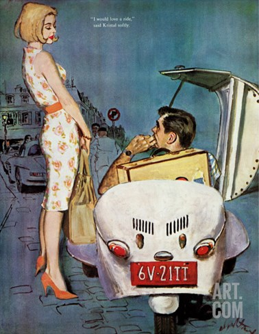 "The Casanova Car - Saturday Evening Post ""Leading Ladies"", September 5, 1959 pg.34 Stretched Canvas Print"