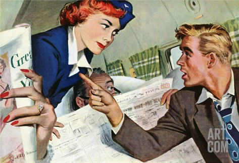 """The Passenger Hated Redheads  - Saturday Evening Post """"Leading Ladies"""", August 13, 1949 pg.24 Stretched Canvas Print"""