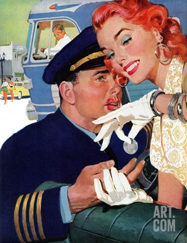 "The Pilot Hated Stewardesses - Saturday Evening Post ""Leading Ladies"", May 15, 1954 pg.36 Stretched Canvas Print"