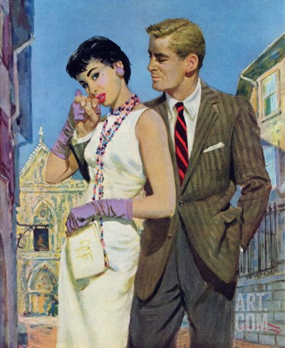 """The Lady Had an Angle  - Saturday Evening Post """"Leading Ladies"""", August 20, 1955 pg.21 Stretched Canvas Print"""