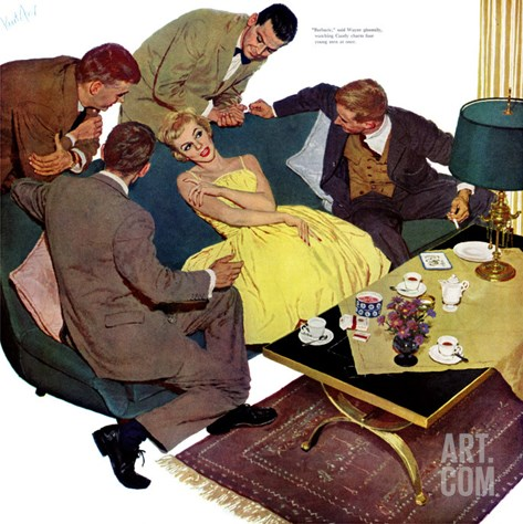 "Marriagable Age - Saturday Evening Post ""Men at the Top"", December 13, 1958 pg.28 Stretched Canvas Print"