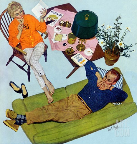 Husbands Better Tell - Saturday Evening Post &quot;Men at the Top&quot;, September 6, 1958 pg.17 Stretched Canvas Print