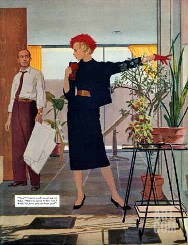 "The Brute Next Door  - Saturday Evening Post ""Leading Ladies"", October 9, 1954 pg.22 Stretched Canvas Print"