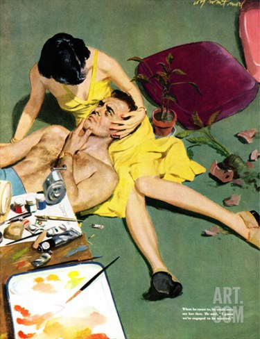 "Marriageable Man  - Saturday Evening Post ""Leading Ladies"", March 12, 1949 pg.23 Stretched Canvas Print"
