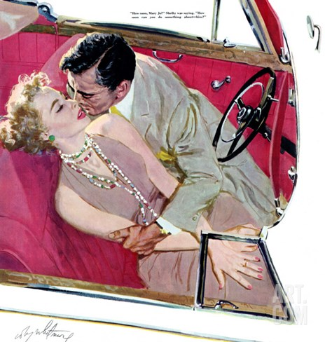 """Second Class Marriage  - Saturday Evening Post """"Leading Ladies"""", July 23, 1955 pg.23 Stretched Canvas Print"""