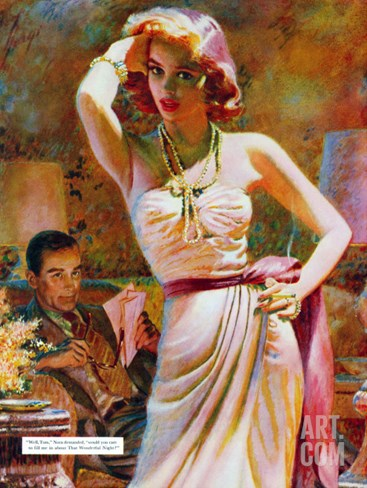 "She Wouldn't Believe Him - Saturday Evening Post ""Leading Ladies"", October 1, 1955 pg.29 Stretched Canvas Print"