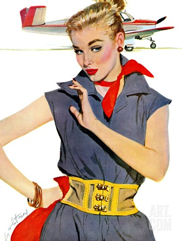 "The Girl Who Stole Airplanes  - Saturday Evening Post ""Leading Ladies"", December 6, 1952 pg.24 Stretched Canvas Print"