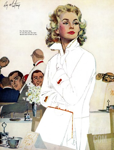 "Too Young for Trouble - Saturday Evening Post ""Leading Ladies"", May 7, 1960 pg.42 Stretched Canvas Print"