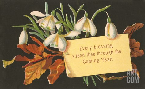Every Blessing, Victorian Snowdrops Stretched Canvas Print