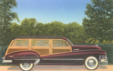 Woodie Stationwagon Stretched Canvas Print