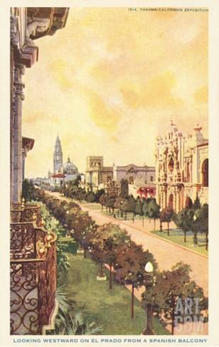 El Prado, Balboa Park, San Diego, California Stretched Canvas Print