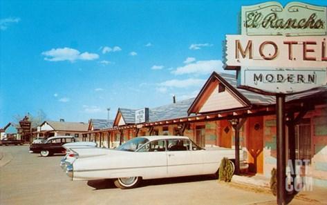 El Rancho Vintage Motel, Cadillac with Fins Stretched Canvas Print