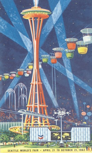 Space Needle, Seattle World's Fair Stretched Canvas Print