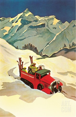 Ski Truck in Alps Stretched Canvas Print