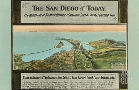 Early Map of San Diego, California Stretched Canvas Print