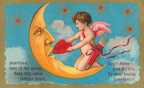 Cupid Feeding Heart to Moon Stretched Canvas Print