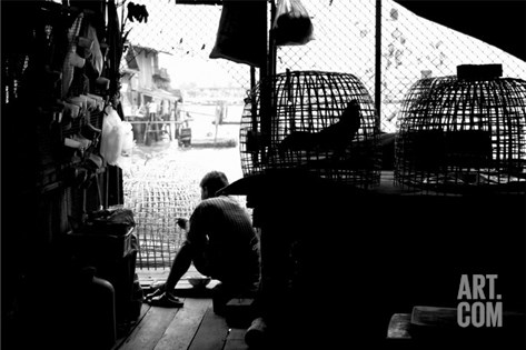 Bangkok Worker Takes A Well Earned Break Stretched Canvas Print