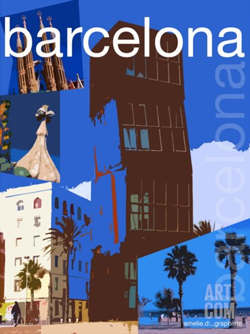 Barcelona Stretched Canvas Print