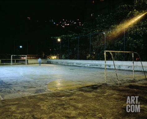 Soccer field Lit Up at Night, Rio de Janeiro, Brazil Stretched Canvas Print
