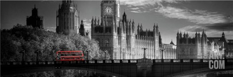 London Bus V Stretched Canvas Print