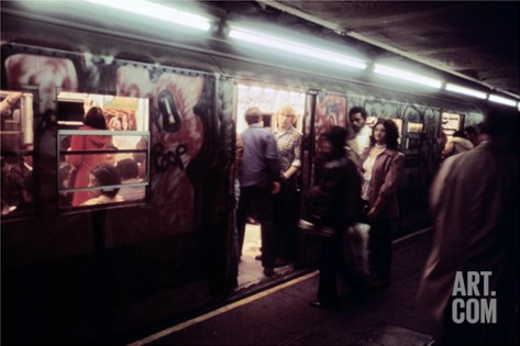 1970s America, Graffiti on a Subway Car on the Lexington Avenue Line. New York City, New York, 1972 Stretched Canvas Print