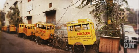 Public School Rickshaws Parked in Front of a Building, Old Delhi, Delhi, India Stretched Canvas Print