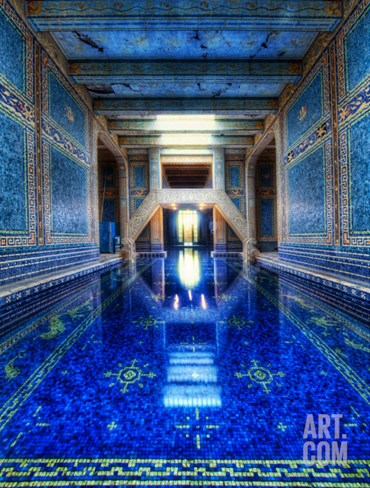 The Azure Blue Indoor Pool at Hearst Castle Stretched Canvas Print