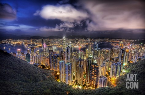 Hong Kong from the peak on a summer's night Stretched Canvas Print