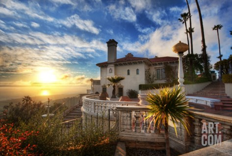 Sunset at Hearst Castle Stretched Canvas Print