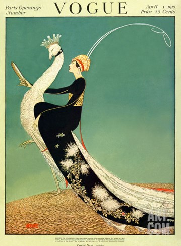 Vogue Cover - April 1918 Stretched Canvas Print
