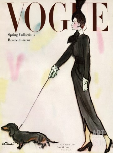 Vogue Cover - March 1947 Stretched Canvas Print
