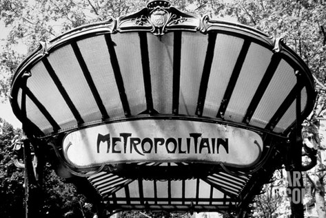 Metro Entrance, Paris Stretched Canvas Print