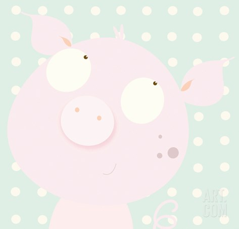 Pinky Piggy Stretched Canvas Print