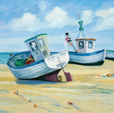 Fishing Boats Stretched Canvas Print