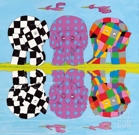 Elmer's Family Reflections Stretched Canvas Print