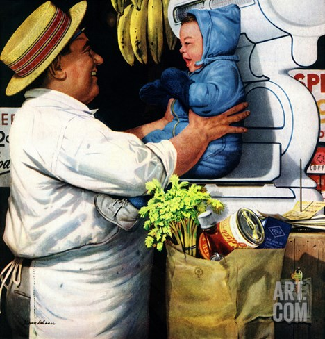 """Babies and Bananas"", April 5, 1952 Stretched Canvas Print"