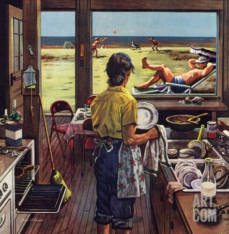"""Doing Dishes at the Beach"", July 19, 1952 Stretched Canvas Print"