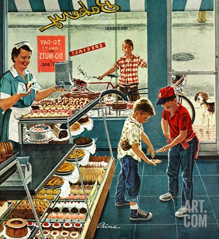 """Doughnuts for Loose Change"", March 29, 1958 Stretched Canvas Print"