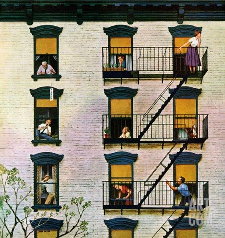 """Apartment Clarinetist"", April 19, 1958 Stretched Canvas Print"