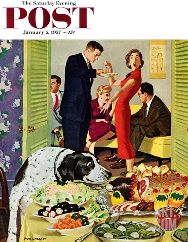 """Doggy Buffet"" Saturday Evening Post Cover, January 5, 1957 Stretched Canvas Print"
