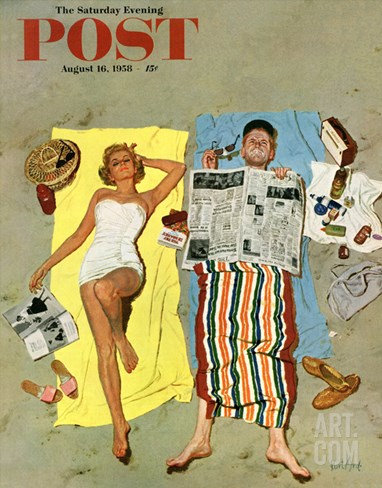 """Sunscreen?"" Saturday Evening Post Cover, August 16, 1958 Stretched Canvas Print"