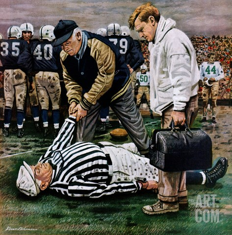 """Ref Out Cold"", November 25, 1950 Stretched Canvas Print"