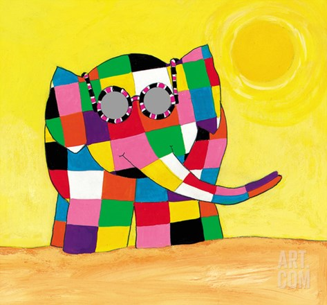 Elmer in the Sun Stretched Canvas Print