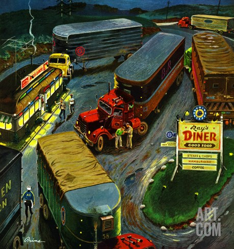 """Truck Stop Diner"", October 10, 1953 Stretched Canvas Print"