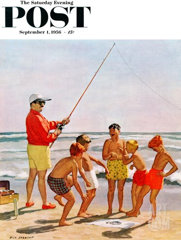 """Big Pole Little Fish"" Saturday Evening Post Cover, September 1, 1956 Stretched Canvas Print"