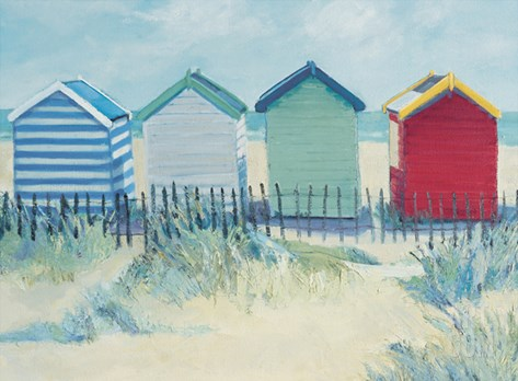 Suffolk Beach Huts Stretched Canvas Print