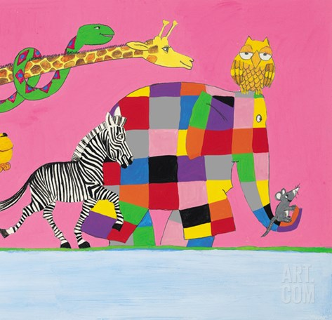 Elmer's Friends are all Different Stretched Canvas Print