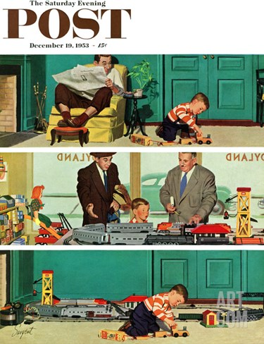 """New Toy Train"" Saturday Evening Post Cover, December 19, 1953 Stretched Canvas Print"