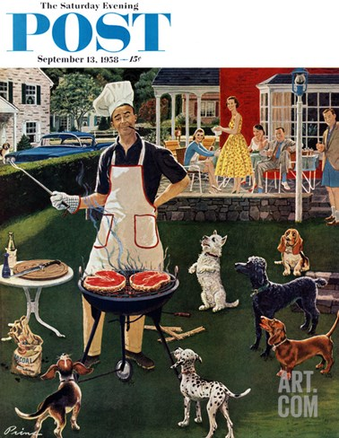 """Hot Dogs"" Saturday Evening Post Cover, September 13, 1958 Stretched Canvas Print"