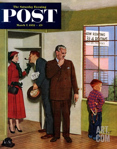 """""""Worried Rental Agent"""" Saturday Evening Post Cover, March 7, 1953 Stretched Canvas Print"""